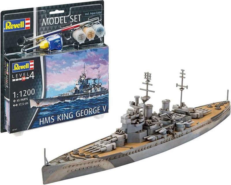 Revell® Modellbausatz »Revell REV-65161 Model Set HMS King George V Modellbausatz + Zubehör, Mehrfarbig, 1/48«
