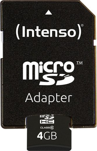 Intenso »microSDHC Class 10 + SD-Adapter« Speicherkarte (4 GB, 20 MB/s Lesegeschwindigkeit)