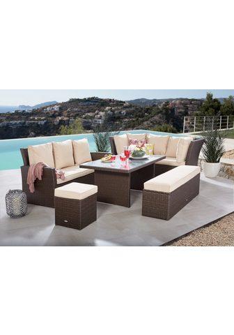 MERXX Kampinis virtuvės suolas su kėdėmis »B...