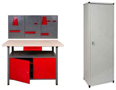 Kreher Werkstatt-Set, (Set), B/T/H: 120x60x85 cm, 2x Tür, 1x Werkstattschrank, 1x Werkzeugwand