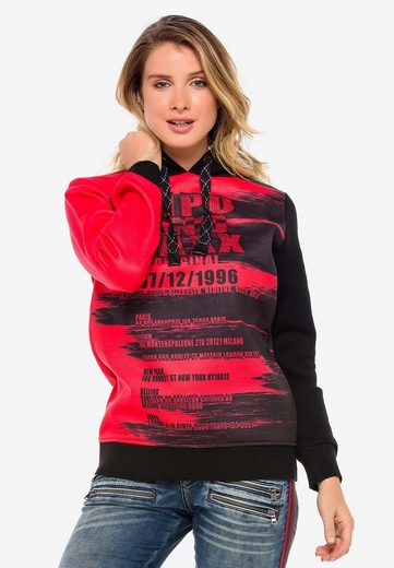 Cipo & Baxx Kapuzensweatshirt »Brushed« mit Markenprint