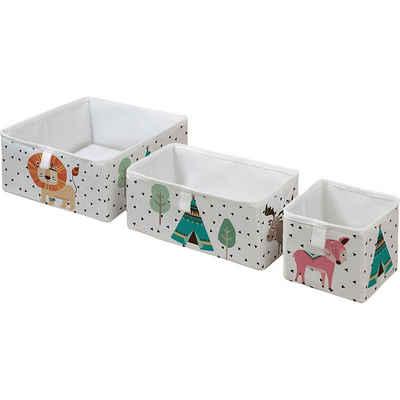 Mr. Little Fox Aufbewahrungsbox »Aufbewahrungsbox Tiere, faltbar, weiß, 3er Set«