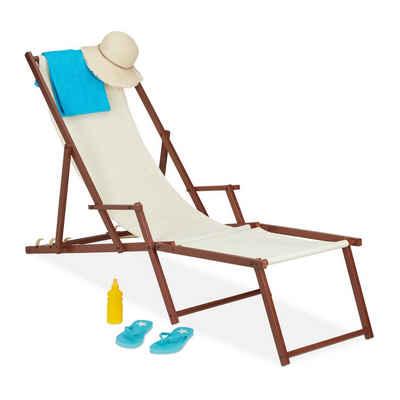 relaxdays Gartenliege »Liegestuhl Holz Stoff«