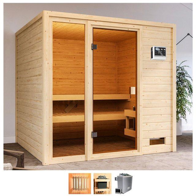 Saunen und Zubehör - Karibu Sauna »Jackie«, BxTxH 196 x 196 x 187 cm, 38 mm, 9 kW Bio Ofen mit ext. Steuerung  - Onlineshop OTTO