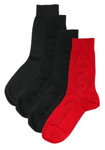 Rogo Socken (4-Paar) mit Strukturmuster