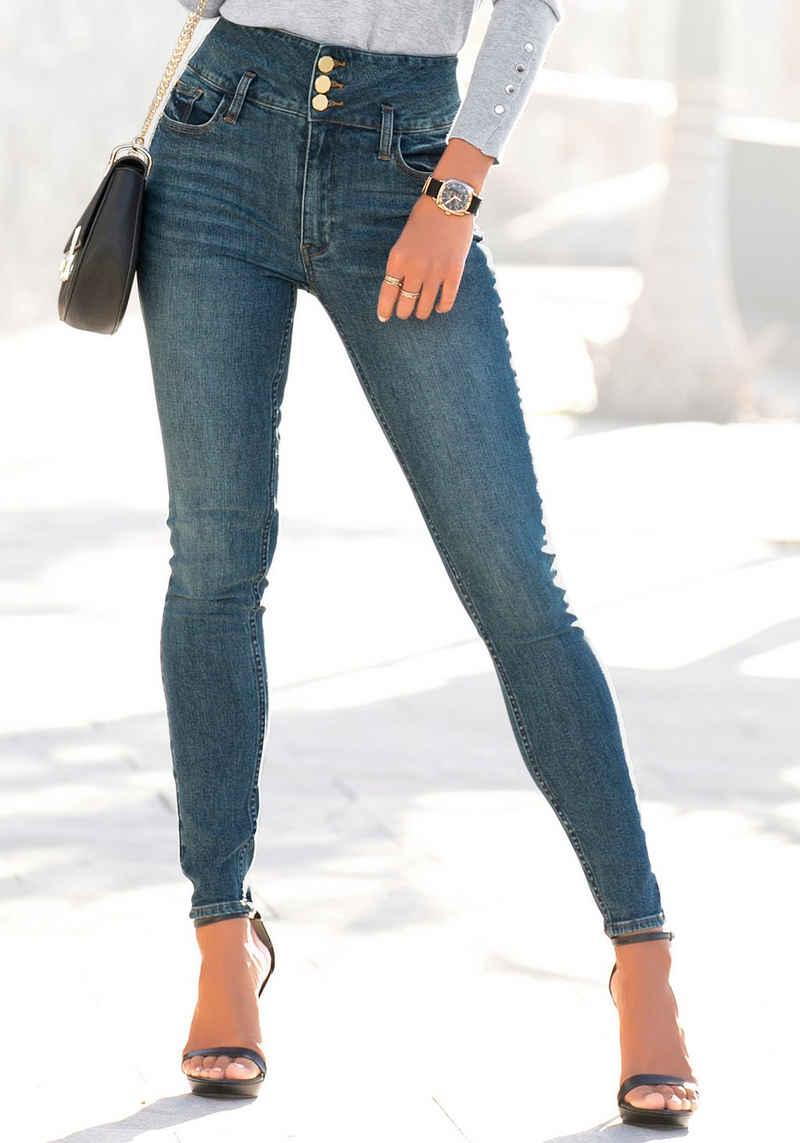 LASCANA High-waist-Jeans mit goldfarbenen Knöpfen