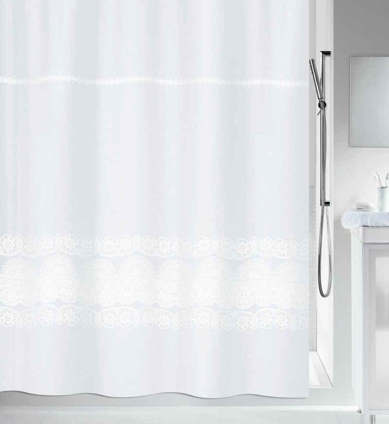 spirella Duschvorhang »BRODERIE« Breite 120 cm, Anti-Schimmel Textil-Duschvorhang, Polyester, 120x200 cm, waschbar