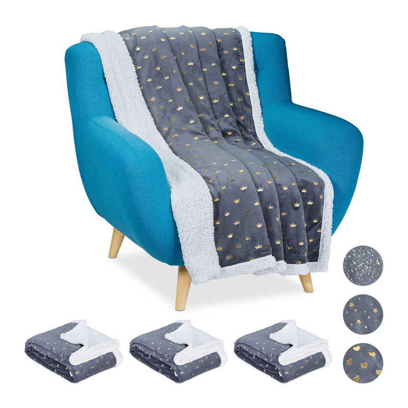 Wohndecke »4 x Kuscheldecke grau goldene Kronen«, relaxdays