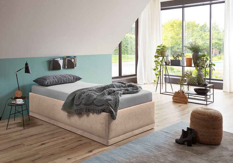 Westfalia Schlafkomfort Polsterbett »Texel«, Standardhöhe mit Zierkissen, inkl. Bettkasten bei Ausführung mit Matratze