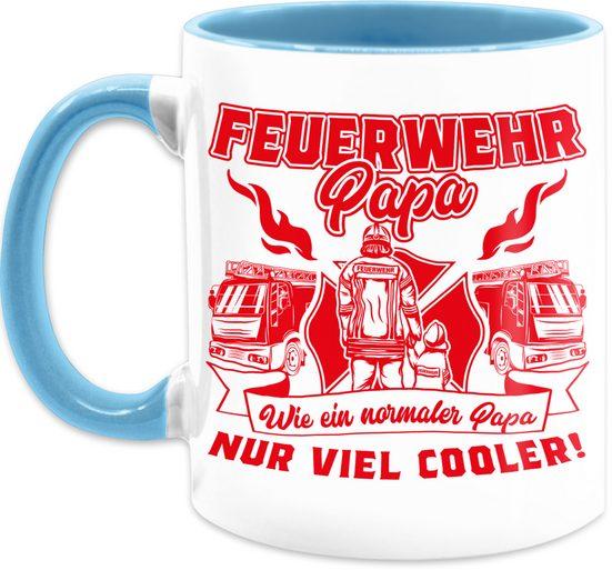 Shirtracer Tasse »Feuerwehr Papa wie ein normaler Papa nur cooler Rot - Tasse Berufe - Tasse zweifarbig«, Keramik