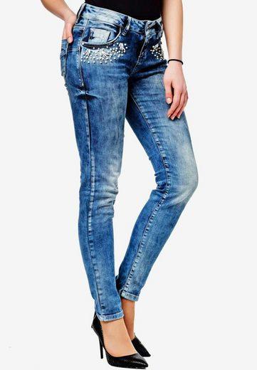 Cipo & Baxx Slim-fit-Jeans mit tollem Steinchen-Besatz in Skinny-Fit