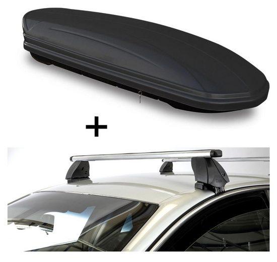 VDP Fahrradträger, Dachbox VDPMAA460 460 Liter schwarz matt abschließbar + Dachträger K1 PRO Aluminium kompatibel mit Toyota Prius + (5Türer) ab 12