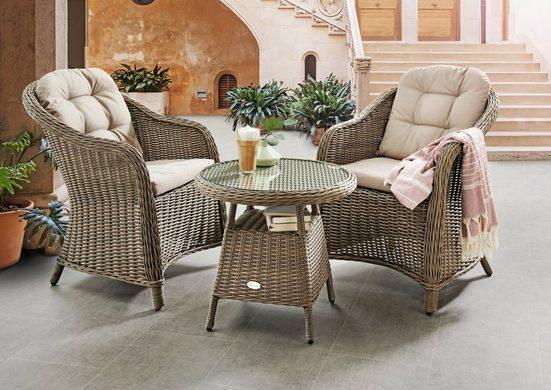 DESTINY Essgruppe »Key West«, 3-tlg., 2 Stühle, Tisch 60 cm, Alu/Polyrattan