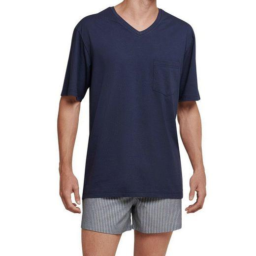 seidensticker Schlafanzug »Herren Schlafanzug Web Jersey - kurz« Kurzarm