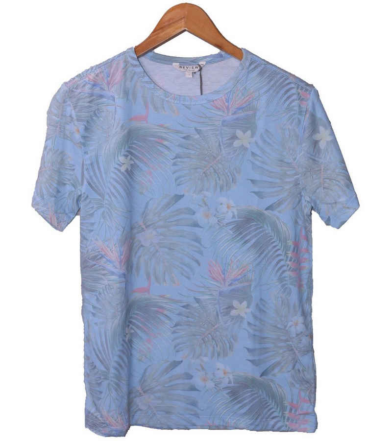 REVIEW Kurzarmshirt »REVIEW Kinder Sommer-Shirt sommerliches T-Shirt mit tropischem Allover-Print Strand-Shirt Hell-Blau«