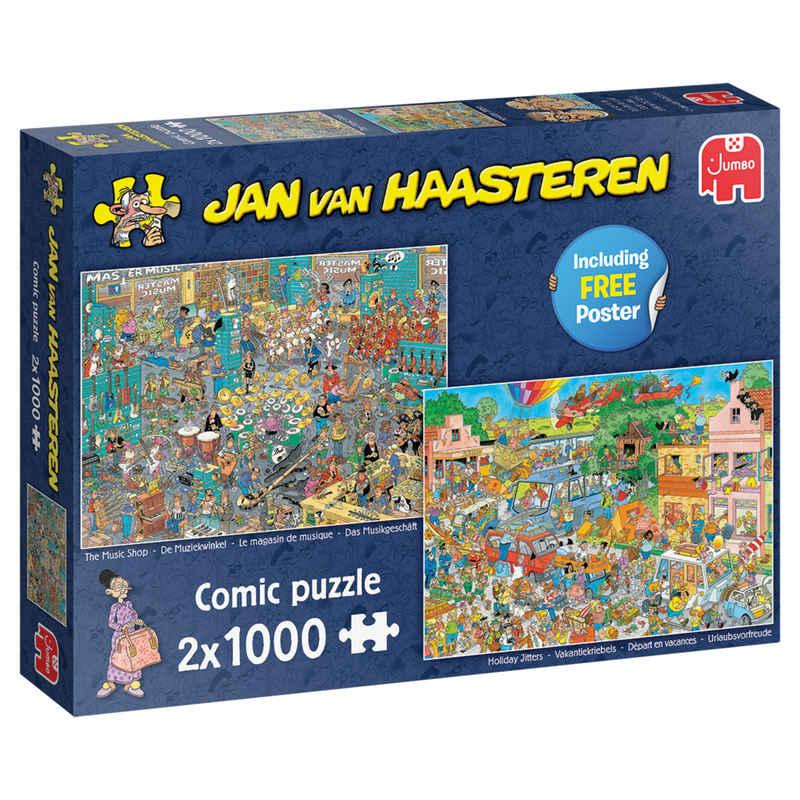 Jumbo Puzzle »Jan van Haasteren Musikgeschäft & Urlaubsvorfreude«, 1000 Puzzleteile