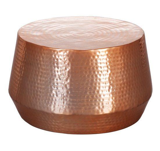 FINEBUY Couchtisch »SuVa12268_1«, Couchtisch MARESH 60 x 36 x 60 cm Aluminium Beistelltisch Orientalisch rund Flacher Hammerschlag Sofatisch Metall Design Wohnzimmertisch modern Loungetisch indisch Stubentisch klein