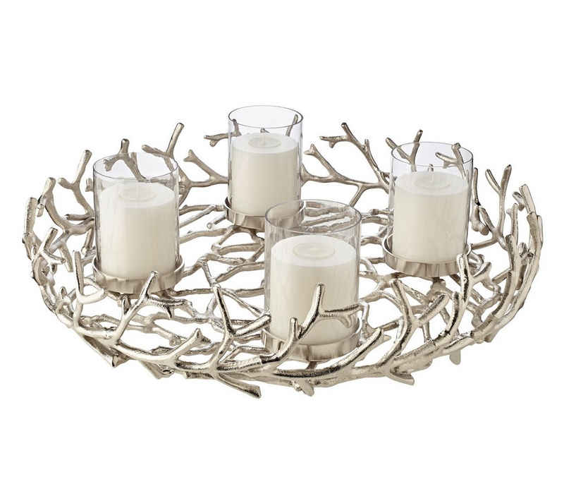 EDZARD Adventskranz »Porus XL«, (58 cm) Kerzenhalter für Stumpenkerzen, Weihnachtsdeko für 4 Kerzen á Ø 8 cm, Kerzenkranz als Tischdeko mit Silber-Optik, vernickelt