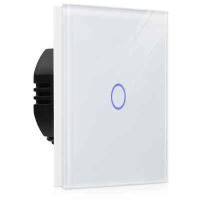 Navaris Lichtschalter, Touch Wandschalter - mit Montagematerial Glas Panel und Status-LED - Licht Schalter innen außen - Einbauschalter