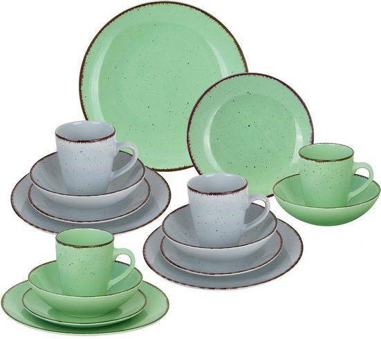ARTE VIVA Kombiservice »Puro« (16-tlg), Steinzeug, Farbset in lindgrün und grau, vom Sternekoch Thomas Wohlfarter empfohlen