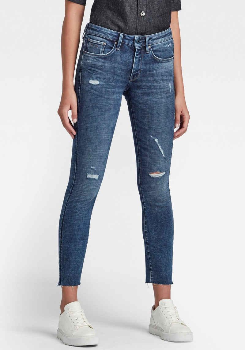G-Star RAW Skinny-fit-Jeans »3301 Mid Skinny Ankle Jeans« knöchellange Variante mit leicht ausgefransten Saumabschluss