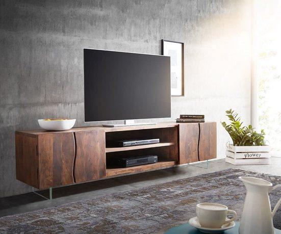 DELIFE TV-Board »Live-Edge«, Akazie Braun 200 cm 4 Türen 2 Fächer Glasbeine Baumkante Lowboard