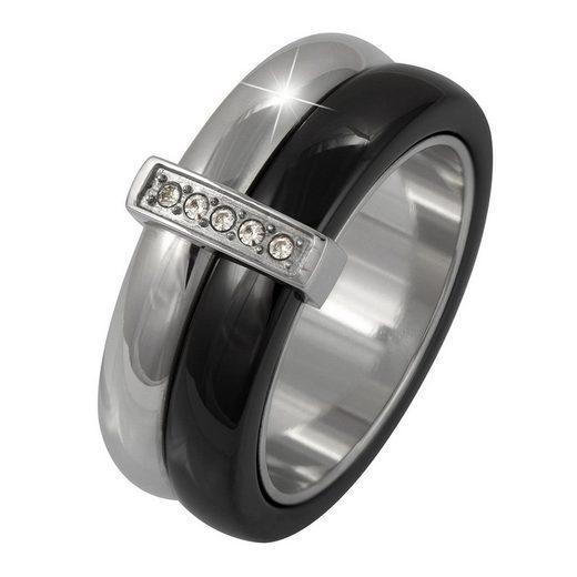 Amello Fingerring »ESRX02S54 Amello Edelstahl Keramik Ring Größe 54« (Ringe), Ringe Edelstahl (Stainless Steel), Farbe: silber, schwarz, stahl