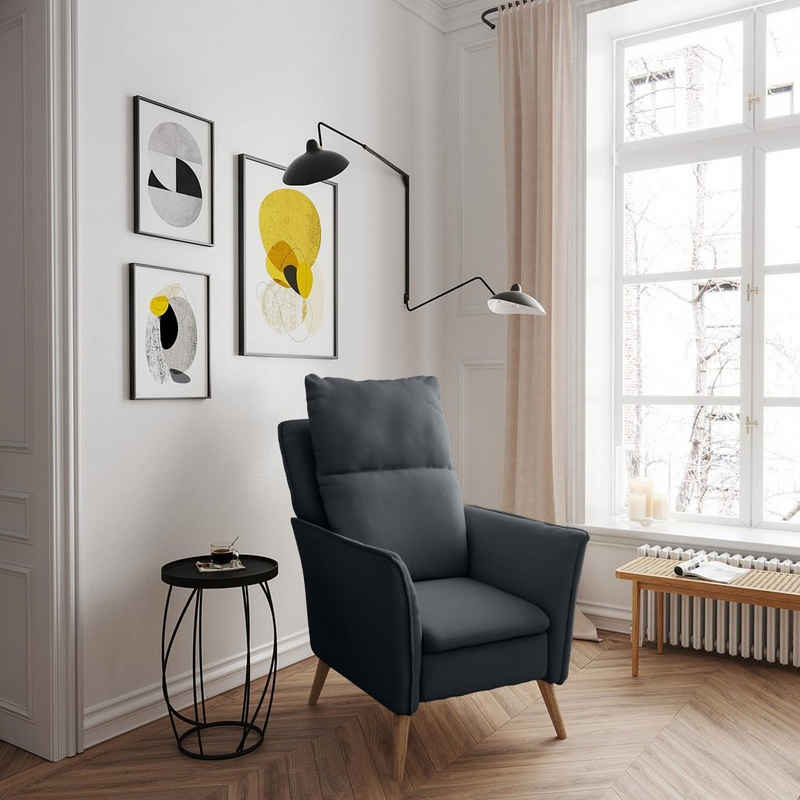 PLACE TO BE. Relaxsessel »Moderner hochwertiger Relaxsessel Fernsehsessel mit Funktion Insideout Small mit XXL Rückenlehne«, Moderner hochwertiger Relaxsessel Fernsehsessel mit Funktion Insideout Small mit XXL Rückenlehne Dunkelgrau Buche