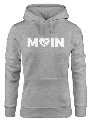 MoonWorks Hoodie »Cooler Kapuzen-Pullover Damen Moin Love Herz mit Anker Nordsee Hoodie Moonworks®«