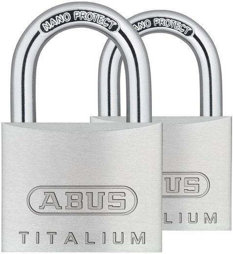 ABUS Vorhängeschloss »64TI/40 Twins B/SB«, Spezialaluminium und gehärtetem Stahlbügel