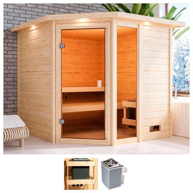 Saunen und Zubehör - KARIBU Sauna »Tally«, 224x210x191 cm, 9 kW Ofen mit int. Steuerung, Dachkranz  - Onlineshop OTTO