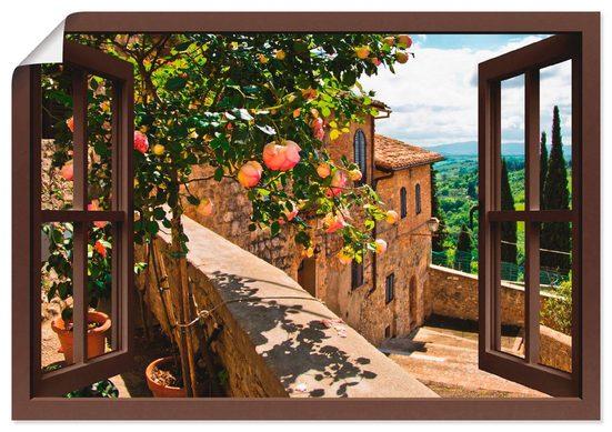 Artland Wandbild »Fensterblick Rosen auf Balkon Toskana«, Garten (1 Stück), in vielen Größen & Produktarten - Alubild / Outdoorbild für den Außenbereich, Leinwandbild, Poster, Wandaufkleber / Wandtattoo auch für Badezimmer geeignet