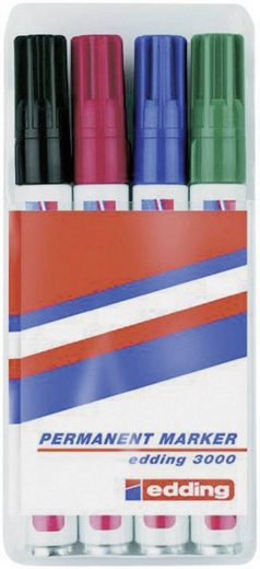 EDDING Kreidemarker »edding Permanent Marker 3000-Set, 4tlg.«