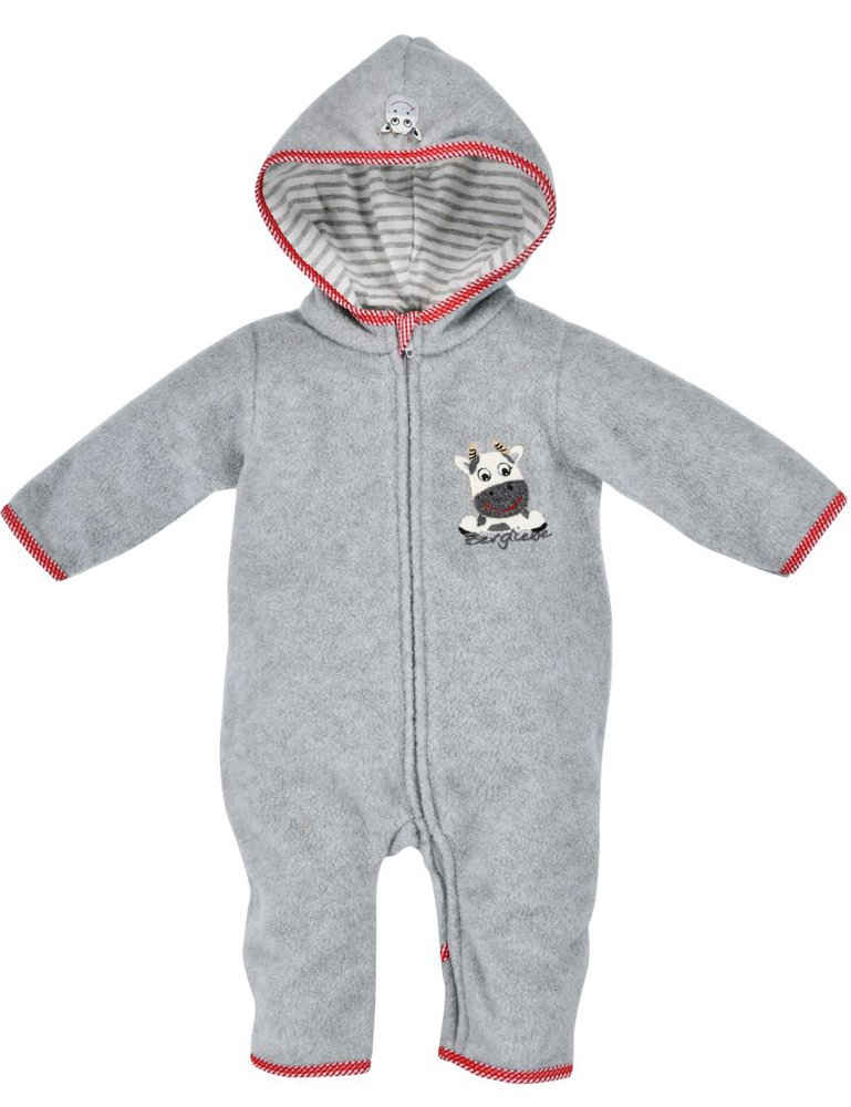 "BONDI Strampler »Kuscheliger Baby Fleece-Overall ""Kuh"" 93665 - Grau, Kinder Herbst Wintermode«"