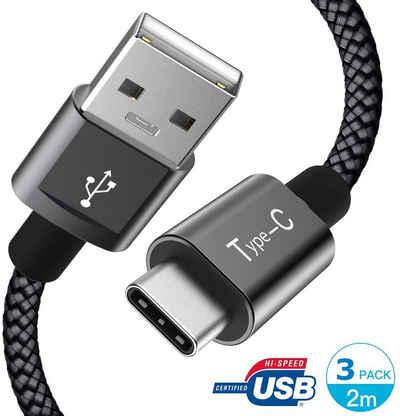 Marchpower »3 Pack Typ C Kabel USB A auf USB C Ladekabel« Smartphone-Kabel, USB-C, USB Typ A (200 cm), 3 Stücke USB Typ C Ladekabel USB C Kabel Ladegerät Schnellladen für Huawei P40 P50 P30 P20 P10 Samsung Galaxy S20 S10E S9 S8 Plus Note 9 Pixel LG G7 G6 V40 Moto Z2 Nexus 6P 5X OnePlus 5 3T