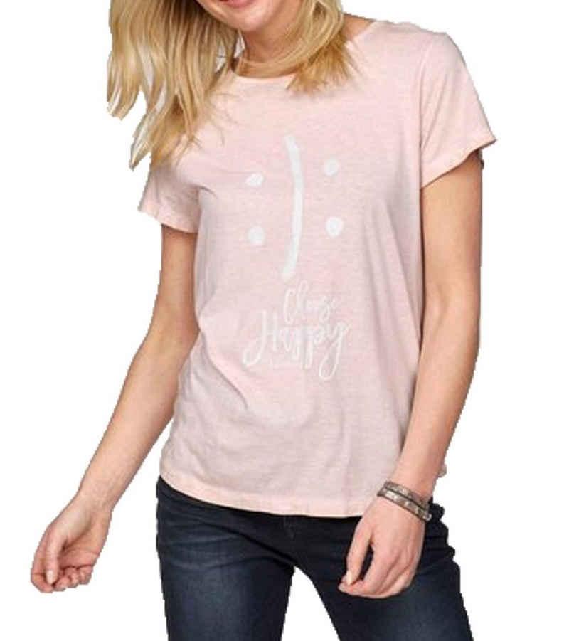 TIMEZONE T-Shirt »TIMEZONE Basic T-Shirt lässiges Damen Statement-Shirt mit leichter Oil-Waschung Sommer-Shirt Rosa«