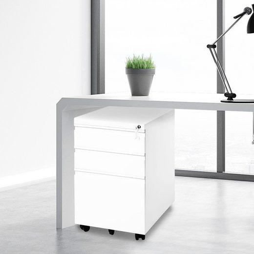 Merax Rollcontainer, inkl. 3 Schübe, Büroschränke, Aktenschränke, Büro-Rollcontainer, Bürocontainer mit Schubladen