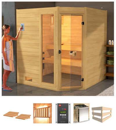weka Sauna »Lars Eck 1«, BxTxH: 189 x 139 x 203,5 cm, 38 mm, 7,5 kW Bio-Kombiofen mit ext. Steuerung