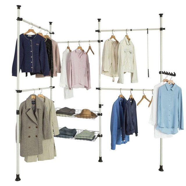 Kleiderständer und Garderobenständer - SoBuy Kleiderständer »KLS04«, Garderobenständer mit 5 Kleiderstangen und 2 Körbe verstellbares Regalsystem  - Onlineshop OTTO