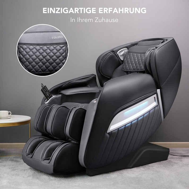 NAIPO Massagesessel »MGC-A350B, MGC-A350BR«, Wärmefunktion, Schwerelosigkeit, Luftdruckmassage, USB, Bluetooth, Shiatsu Massagesitz Relaxsessel für Zuhause/Büro