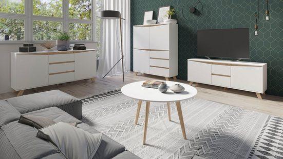 Homexperts Couchtisch »Madlina«, D 80, H 45 cm, matt weiß, aus Massivholz