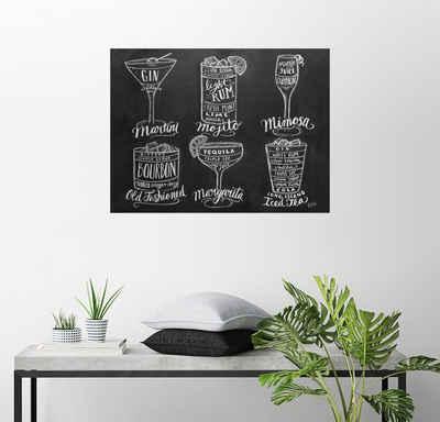 Posterlounge Wandbild, Cocktail-Rezepte (Englisch)