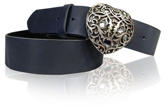 FRONHOFER Koppelgürtel »18354« Damengürtel Herz 4 cm Strass Herzschnalle, Herz Gürtelschnalle silber