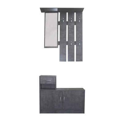 HTI-Line Garderoben-Set »Garderobe Thekla«, (2-St), Garderobenpaneel mit Spiegel, Hutablage und 5 Haken