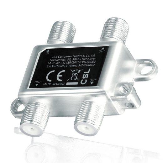CSL TV-Adapter, 3-Wege Sat Verteiler mit Erdungsanschluss 5 - 2400 MHz Frequenzbereich / voll geschirmt