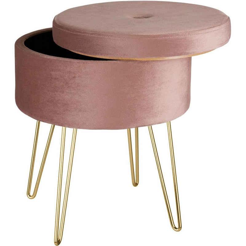 tectake Sitzhocker »Sitzhocker Ava gepolstert in Samtoptik 300kg mit« (1 St)