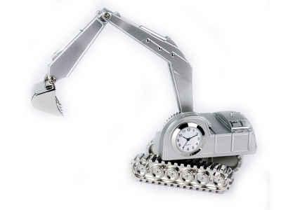 Siva Standuhr »Siva Clock Excavator matt silber Quarzuhr aus« (sET)