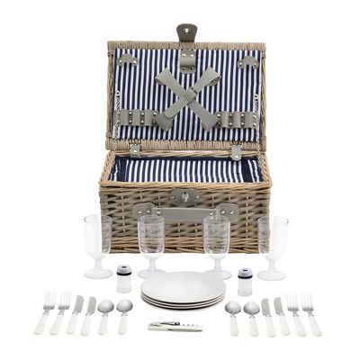 casa.pro Besteck-Set, Picknickkorb mit Besteck für 4 Personen Blau-Weiß