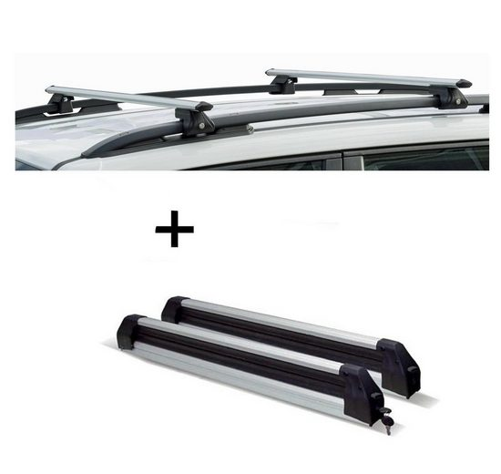 VDP Fahrradträger, Relingträger CRV135 + Skiträger / Snowboardträger / Skihalter Silve Ice ausziehbar) kompatibel mit BMW Serie 5 Touring (E39) 96-03