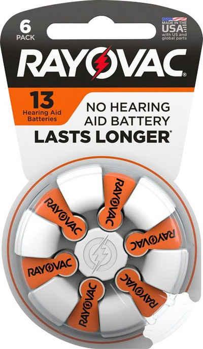 RAYOVAC »Rayovac Acoustic Zink Luft Hörgerätebatterie in der Größe 13 Pack mit 60 Batterien geeignet für Hörgeräte Hörhilfen Hörverstärker orange« Batterie, (1,45 V, 60 St)